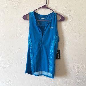 Zoot blue half zip workout tank size XL builtinbra